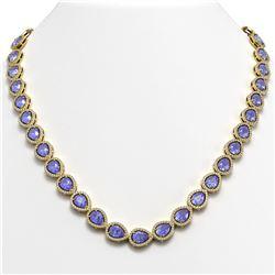 60.49 ctw Tourmaline & Diamond Halo Necklace 10K White Gold