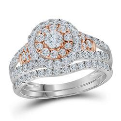 14kt White Gold Round Diamond Swirl Halo Bridal Wedding Engagement Ring Band Set 1.00 Cttw