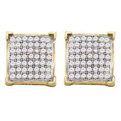 10kt White Gold Round Diamond Moving Twinkle Cluster Teardrop Tri-tone Pendant 1/8 Cttw