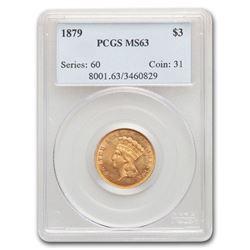 1879 $3 Gold Princess MS-63 PCGS