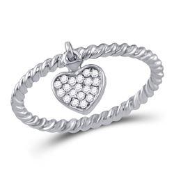 10kt White Gold Round Diamond Heart Outline Pendant 1/8 Cttw