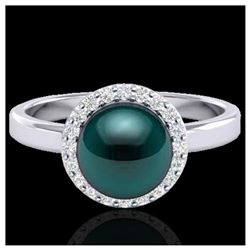 1 ctw SI Fancy Blue Diamond Solitaire Ring 10K White Gold