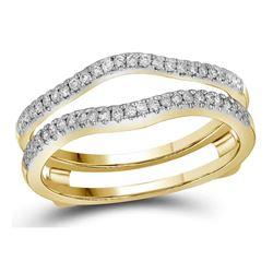 10kt Yellow Gold Round Diamond Solitaire Swirl Bridal Wedding Engagement Ring 1/2 Cttw