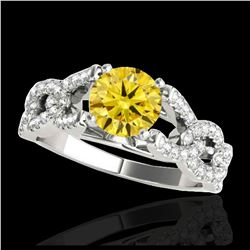 1.67 ctw Intense Blue Diamond Art Deco 3 Stone Ring 18K Rose Gold