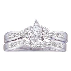 14kt White Gold Pear Diamond Bridal Wedding Engagement Ring Band Set 1.00 Cttw