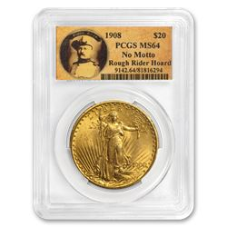 1908 $20 Saint-Gaudens Gold No Motto MS-64 PCGS (Rough Rider)