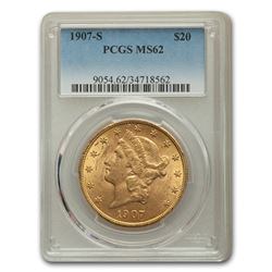 1907-S $20 Liberty Gold Double Eagle MS-62 PCGS