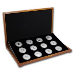 1999-2010 Australia 12-Coin 1 oz Ag Lunar Set BU (SI\, Wood Box)