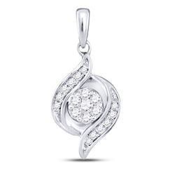 10kt White Gold Round Pave-set Diamond Square Cluster Earrings 7/8 Cttw
