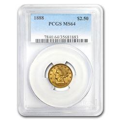1888 $2.50 Liberty Gold Quarter Eagle MS-64 PCGS