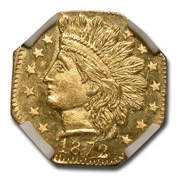 1872 Indian Octagonal 25 Cent Gold MS-64 NGC (BG-791)
