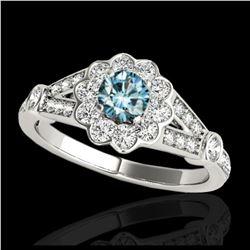 14 ctw Sapphire And VS/SI Diamond Earrings 18K White Gold