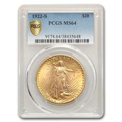 1922-S $20 Saint-Gaudens Gold Double Eagle MS-64 PCGS