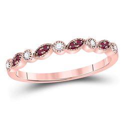 10kt Rose Gold Round Red Color Enhanced Diamond Teardrop Dangle Hoop Earrings 1/4 Cttw