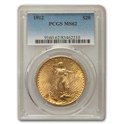 1912 $20 Saint-Gaudens Gold Double Eagle MS-62 PCGS