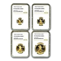 1993 4-Coin Proof Gold American Eagle Set PF-70 NGC