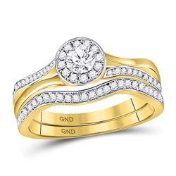 14kt White Gold Round Diamond Flower Solitaire Stud Earrings 1/4 Cttw