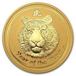 2010 Australia 2 oz Gold Lunar Tiger BU (Series II)