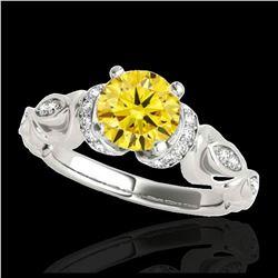 1.85 ctw SI/I Fancy Intense Yellow Diamond Ring 10K Rose Gold