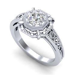 1.50 ctw VS/SI Cushion Cut Diamond Halo Necklace 14K White Gold