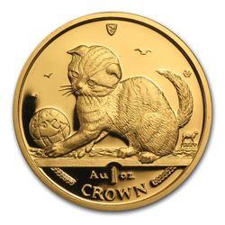 2000 Isle of Man 1 oz Gold Scottish Fold Cat BU