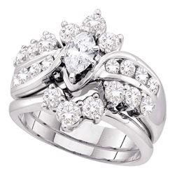 14kt Yellow Gold Round Diamond Triple Cluster Bridal Wedding Engagement Ring Band Set 1/2 Cttw