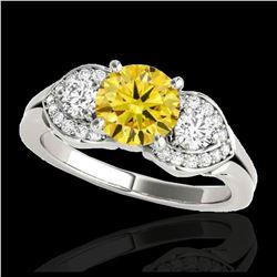 2.01 ctw Fancy Black Diamond Art Deco 3 Stone Ring 18K Rose Gold