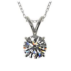 2.50 ctw Fancy Black Diamond Solitaire Necklace 10K White Gold