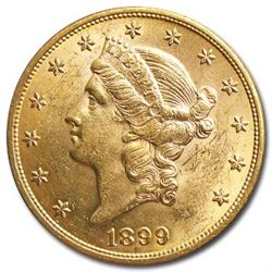 1899 $20 Liberty Gold Double Eagle AU