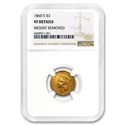 1860-S $3 Gold Princess VF Details (Mount Removed) NGC