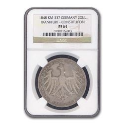 1848 Germany Frankfurt Two Gulden Constitution PF-64 NGC
