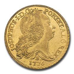 1776-B Brazil Gold 6400 Reis Jose I AU-58 NGC
