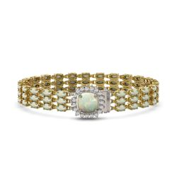 29.32 ctw Sapphire & Diamond Bracelet 14K Yellow Gold