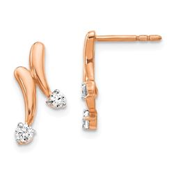 14k Rose Gold Diamond Earrings - 16 mm