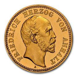 1896 German States Anhalt-Dessau Gold 10 Mark PF-67 NGC (UCAM)