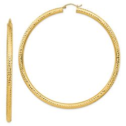 14k Yellow Gold 4 mm Diamond-cut Hoop Earrings - 82.5 mm