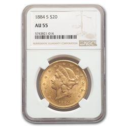 1884-S $20 Liberty Gold Double Eagle AU-55 NGC
