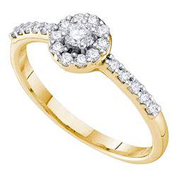 10kt Yellow Gold Round Diamond Cradled Cluster Pendant 1/4 Cttw