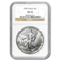 1987 Silver American Eagle MS-70 NGC (Registry Set)