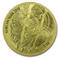 2019 South Korea 1 oz Gold Tiger BU (w/Box & COA)