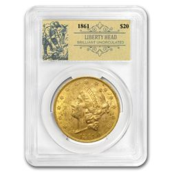 1861 $20 Liberty Gold Double Eagle BU PCGS (Prospector Label)