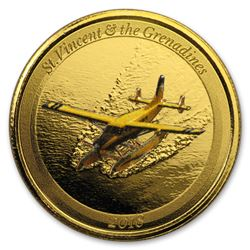 2018 St. Vincent & The Grenadines 1 oz Gold Seaplane (Colorized)