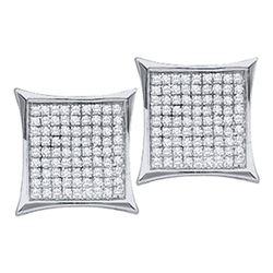10kt White Gold Round Diamond Infinity Dangle Earrings 1/5 Cttw