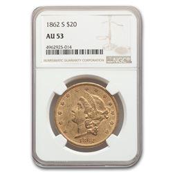 1862-S $20 Liberty Gold Double Eagle AU-53 NGC