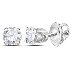 10kt White Gold Round Diamond Cross Stud Earrings 1/6 Cttw