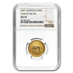 2007 1/2 oz Gold Lunar Year of the Pig MS-70 NGC (Series I)