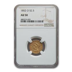 1852-O $2.50 Liberty Gold Quarter Eagle AU-50 NGC