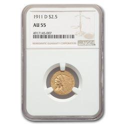 1911-D $2.50 Indian Gold Quarter Eagle AU-55 NGC