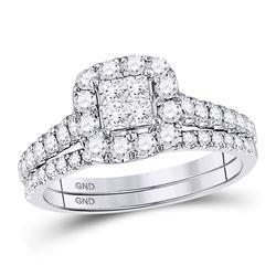 14kt White Gold Round Diamond Cascading Fashion Pendant 1/20 Cttw