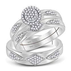 14k White Gold Round Diamond Journey Love Anniversary Pendant 1/4 Cttw